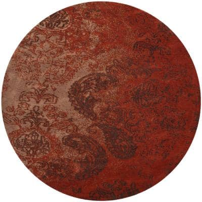 Classic Vintage Rust/Brown 6 ft. x 6 ft. Round Paisley Floral Area Rug