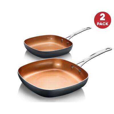 8.5 in. and 9.5 in. Aluminum Ti-Ceramic Nonstick Square Fry Pan Set (2-Piece)