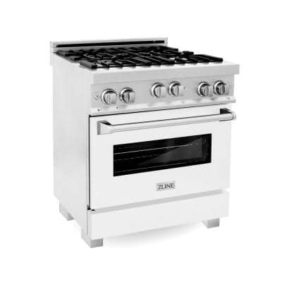 ZLINE 30 in. 4.0 cu. ft. Range with Gas Stove and Gas Oven in DuraSnow Stainless Steel and White Matte Door (RGS-WM-30)