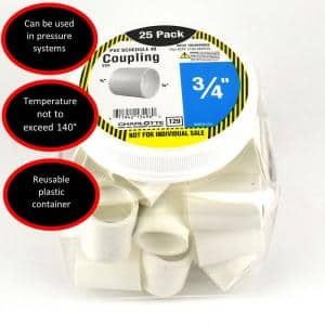 3/4 in. PVC Schedule 40 S x S Coupling Pro Pack (25-Pack)