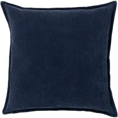 Velizh Dark Slate Solid Polyester 18 in. x 18 in. Throw Pillow