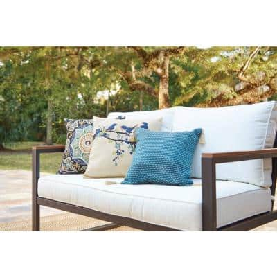 West Park Black Aluminum Outdoor Patio Loveseat with CushionGuard White Cushions