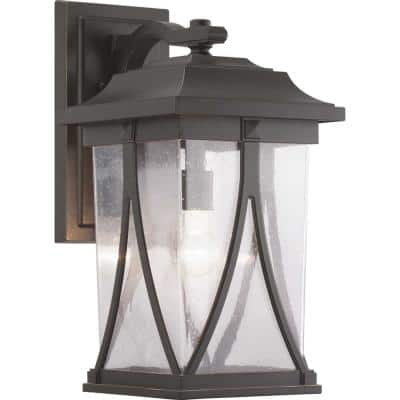 Abbott Collection 1-Light Antique Bronze Clear Seeded Glass Craftsman Outdoor Large Wall Lantern Light