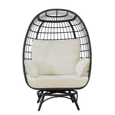 Sadie Black Swivel Wicker Egg Cuddle Outdoor Lounge Chair