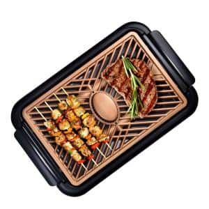 150 sq. in. Black Copper Non-Stick Ti-Ceramic Electric Smoke-less Indoor Grill with Smoke Extraction Fan