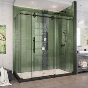 Enigma-XO 68 3/8 - 72 3/8 in. W x 76 in. H Fully Frameless Sliding Shower Enclosure in Oil Rubbed Bronze Stainless Steel