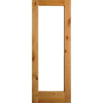 30 in. x 96 in. Rustic Alder Full-Lite Clear Low-E Glass Unfinished Wood Left-Hand Inswing Exterior Prehung Front Door