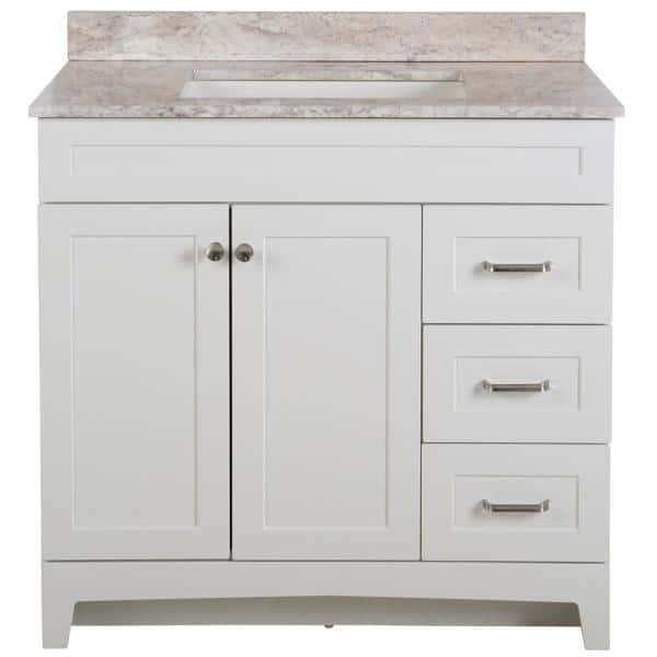 Home Decorators Collection Thornbriar 37 In W X 39 In H Bathroom Vanity In White With Stone Effects Vanity Top In Winter Mist With White Sink Tb36p2v5 Wh The Home Depot