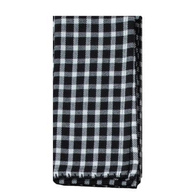 Farmhouse 20 in. x 20 in. Black and White Gingham Cotton Napkins (4-Pack)