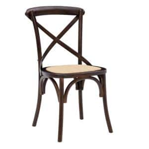 Neyo Walnut Side Chair with Natural Rattan Seat - Set of 2