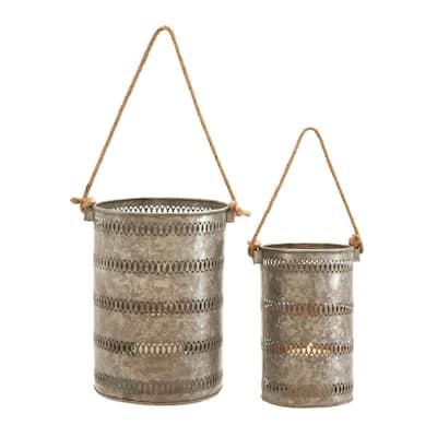 Grey Metal Coastal Candle Lantern (Set of 2)