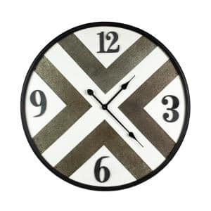 Black Iron frame wall clock with Kirsite background