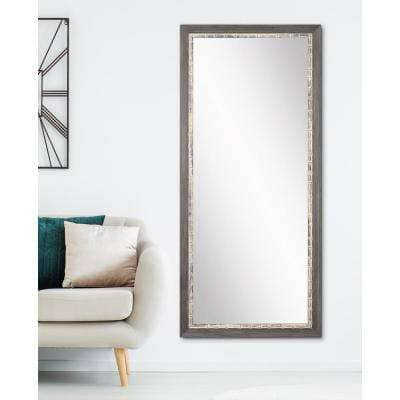 Medium Gray/Weathered Blue Wood Hooks Rustic Mirror (32 in. H X 66 in. W)