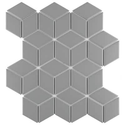 Metro Rhombus Matte Light Grey 10-1/2 in. x 12-1/8 in. Porcelain Mosaic (9.04 sq. ft. /Case)