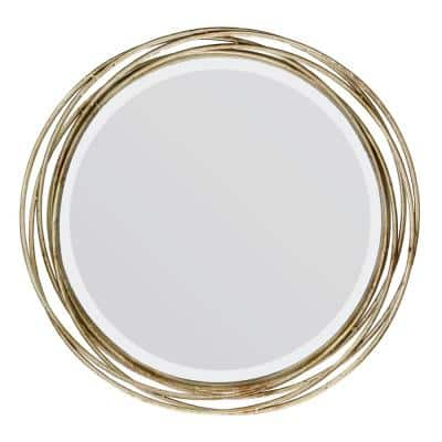 17in x 17in Classic Round Gold Metal Band Accent Mirror