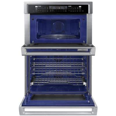 30 in. Electric Steam Cook Wall Oven with Speed Cook Built-In Microwave in Stainless Steel