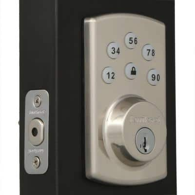 Powerbolt2 Satin Nickel Single Cylinder Electronic Deadbolt Featuring SmartKey Security and Cove Passage Knob