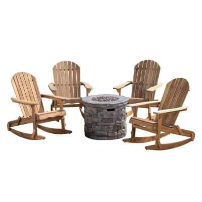 Maison Natural 5-Piece Wood Patio Fire Pit Seating Set