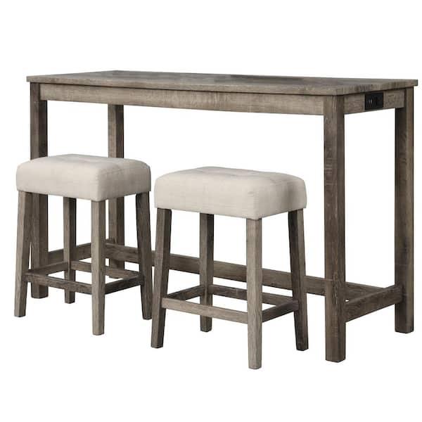 3 Piece Antique Natural Oak Bar Set, Bar Sets Furniture