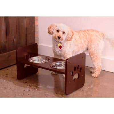 4 Cup MDF with Stainless Steel Bowls Adjustable Pet Feeder in Espresso