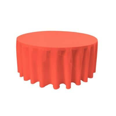 132 in. Round Coral Polyester Poplin Tablecloth