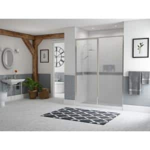 Legend 42.5 in. to 44 in. x 66 in. Framed Hinge Swing Shower Door with Inline Panel in Chrome with Obscure Glass