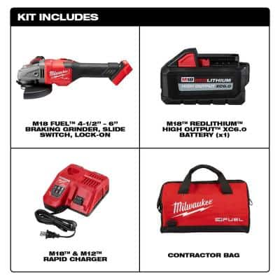 M18 FUEL 18-Volt Lithium-Ion Brushless Cordless 4-1/2 in./6 in. Grinder with Slide Switch Kit and One 6.0 Ah Battery