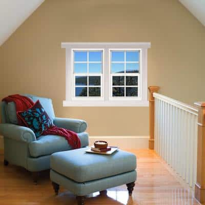 24 in. x 36 in. V-4500 Series White Single-Hung Vinyl Window with 4-Lite Colonial Grids/Grilles