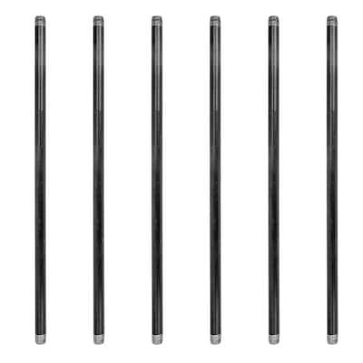 1/2 in. x 24 in. Black Industrial Steel Grey Plumbing Pipe (6-Pack)