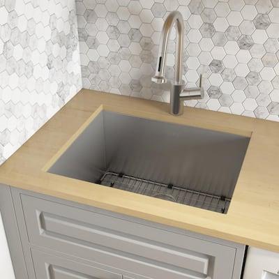21 in. x 18 in. x 12 in. 16-Gauge Stainless Steel Undermount Deep-Laundry Utility Sink
