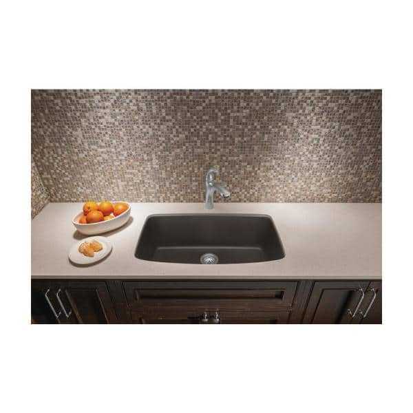 Blanco Valea Undermount Granite Composite 32 In Single Bowl Kitchen Sink Cafe Brown 441613 The Home Depot