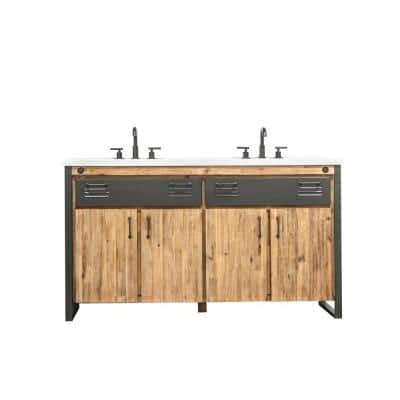 Burnsford 61 in. W x 22 in. D x 34 in. H Vanity in Solid Acacia Wood and Metal with Cultured Marble top with White Sink