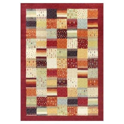 Quilted Relief Red/Ivory 6 ft. 7 in. x 9 ft. 6 in. Area Rug