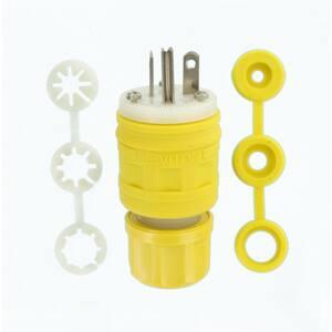 20 Amp 125-Volt Wetguard Straight Blade Grounding Plug, Yellow/White
