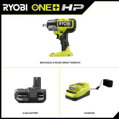ONE+ HP 18V Brushless Cordless 4-Mode 1/2 in. Impact Wrench Kit with (1) 4.0 Ah Battery and Charger