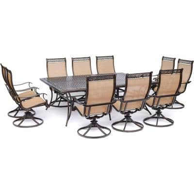 Manor 11-Piece Sling Outdoor Dining Set with 10 Swivel Rockers and Cast-Top Table