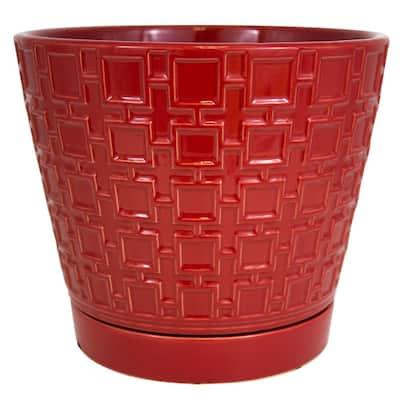 10 in. Red Cubelinx Ceramic Planter