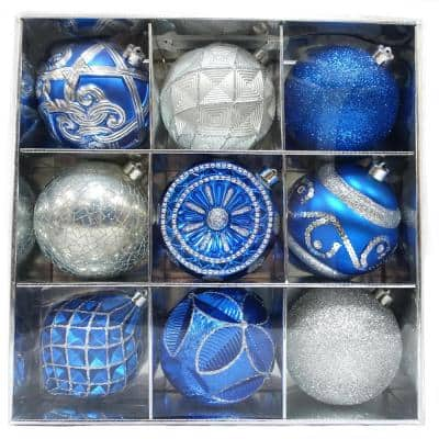130 mm Blue and Silver Ornament Set (9-Count)