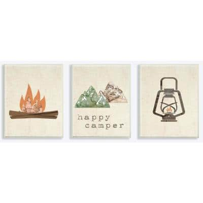 """10 in. x 15 in. """"Happy Camper Mountains and Lantern"""" by Daphne Polselli Printed Wood Wall Art 3-Piece"""