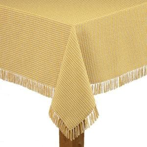 Homespun Fringed 52 in. x 70 in Gold 100% Cotton Tablecloth