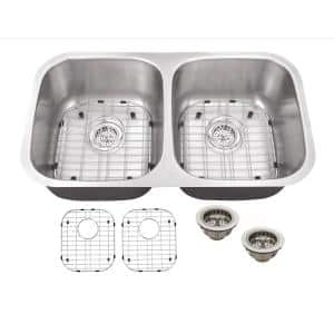 Undermount 16-Gauge Stainless Steel 32-1/4 in. 0-Hole 50/50 Double Bowl Kitchen Sink with Grid Set and Drain Assemblies