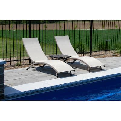 3-Piece Aluminum Adjustable Outdoor Chaise Lounge Set