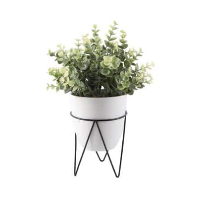 12 in. Faux Eucalyptus in 4.75 in. White Pot on Black Metal Stand