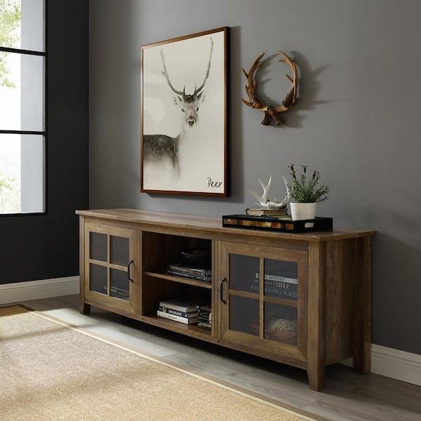 Rustic Oak Composite Tv Stand 75, Rustic Furniture Tv Stand