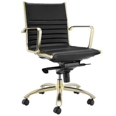 Dirk Black/Gold Low Back Office Chair with Matte Brushed Gold Base