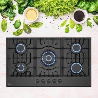 36 in. Gas-on-Glass Gas Cooktop in Black with 5-Burners including Melting Burners