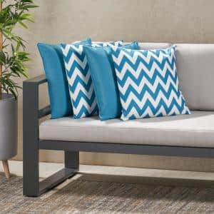 Marisol Solid Teal, Dark Teal and White Chevron Square Outdoor Throw Pillow (4-Pack)