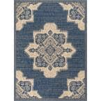 Medusa Bloome Blue Medallion 5 ft. 3 in. x 7 ft. 3 in. Indoor/Outdoor Area Rug