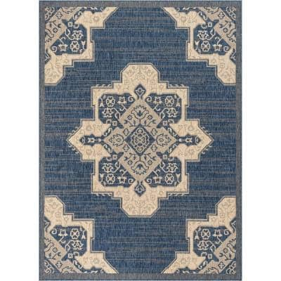 Medusa Bloome Blue Medallion 7 ft. 10 in. x 9 ft. 10 in. Indoor/Outdoor Area Rug