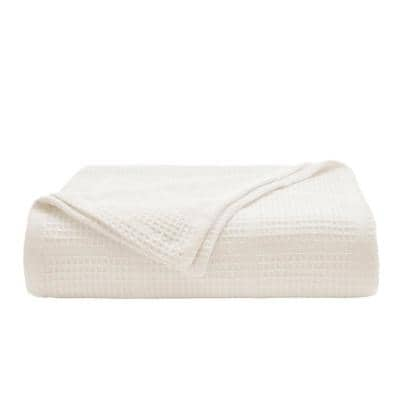 Waffle Grid 1-Piece White Cotton Full/Queen Blanket